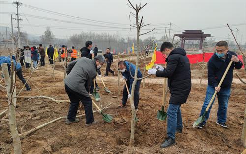 市科技局到元氏县参加义务植树和主题党日活动